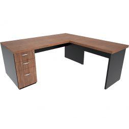 Mesa em L com gaveteiro Pedestal e tampo encabeçado 40mm