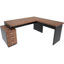 Mesa em L com gaveteiro Pedestal  com rebaixo e tampo encabeçado 40mm