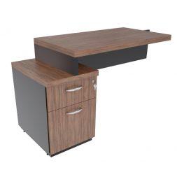Mesa auxiliar com gaveteiro Pedestal  com rebaixo e tampo encabeçado 40mm