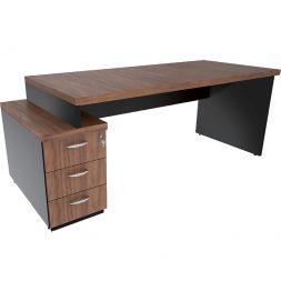 Mesa Reta com gaveteiro Pedestal  com rebaixo e tampo encabeçado 40mm