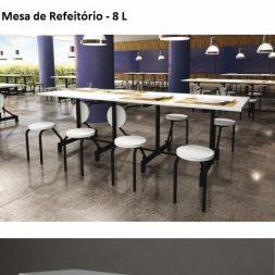Mesa de Refeitório de 8 Lugares Escamoteável