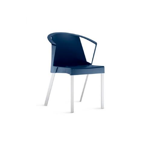 Cadeira Shine Com Braços Fixa Azul