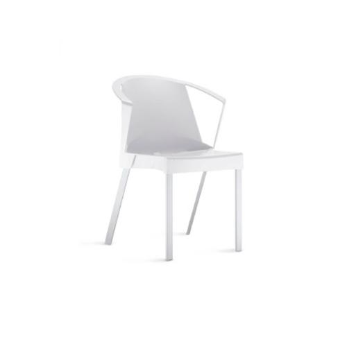 Cadeira Shine Com Braços Fixa Branca
