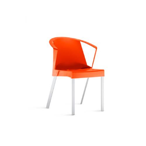 Cadeira Shine Com Braços Fixa Laranja