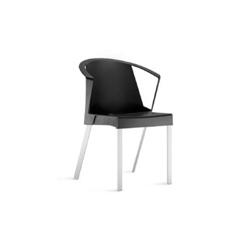 Cadeira Shine Com Braços Fixa Preta