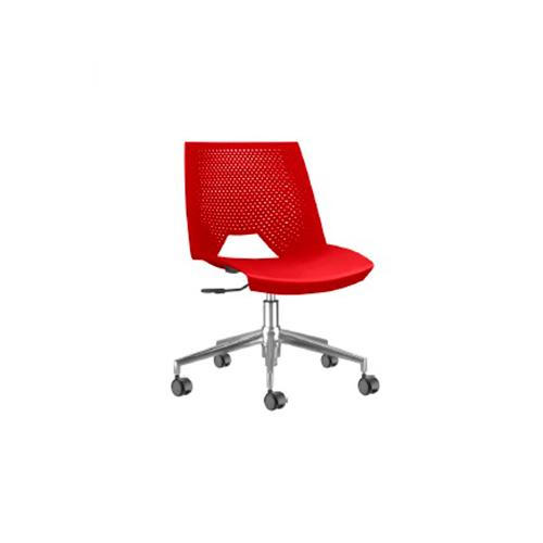 Cadeira Strike  Giratória Vermelha Cromada