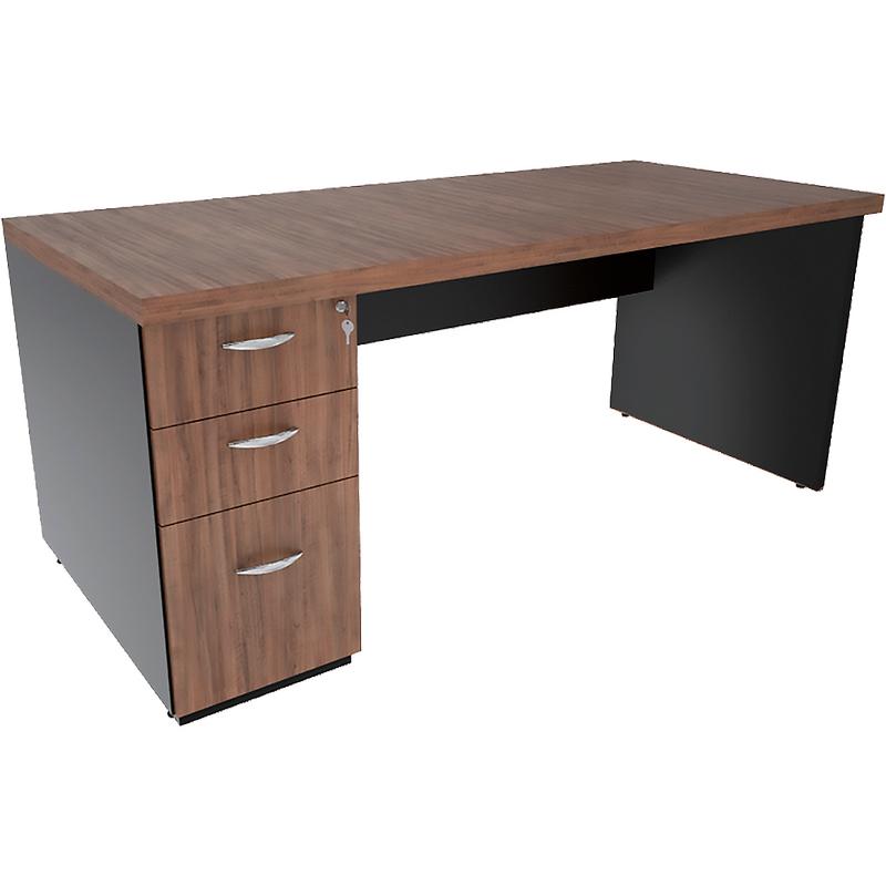 Mesa Reta com gaveteiro Pedestal e tampo encabeçado 40mm