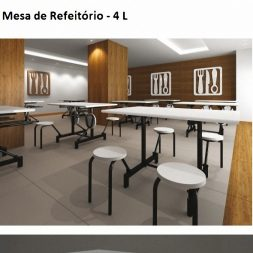 Mesa de Refeitório de 4 Lugares Escamoteável