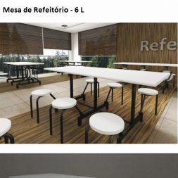 Mesa de Refeitório de 6 Lugares Escamoteável